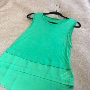Michael Kors Jade Green Cotton/Sheer Tank